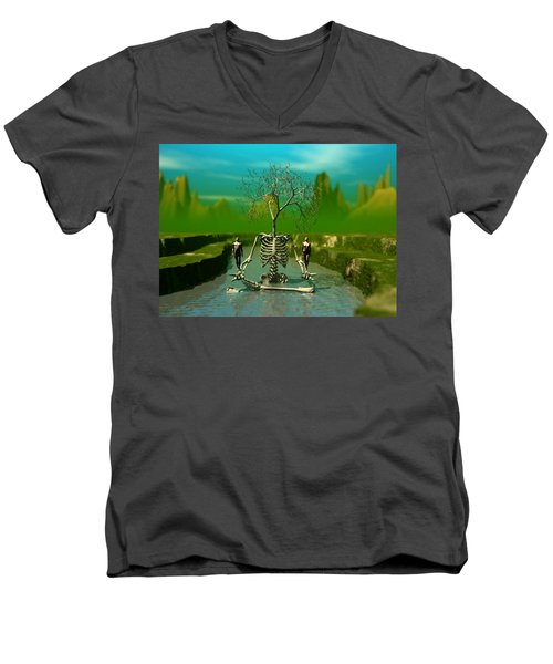 Men's V-Neck T-Shirt featuring the digital art Life Death And The River Of Time by John Alexander