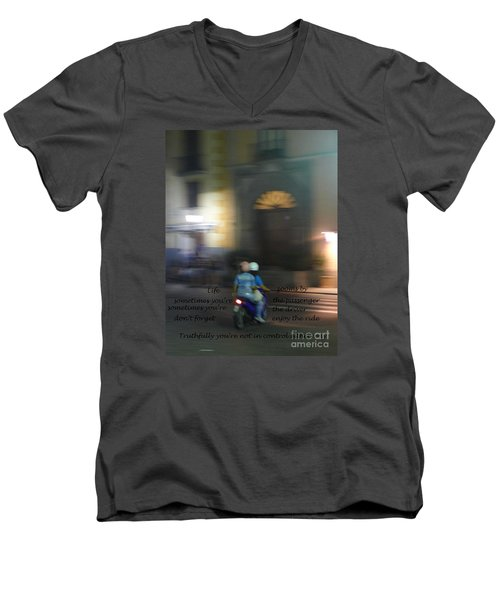 Life Zooms By  Men's V-Neck T-Shirt by Nora Boghossian