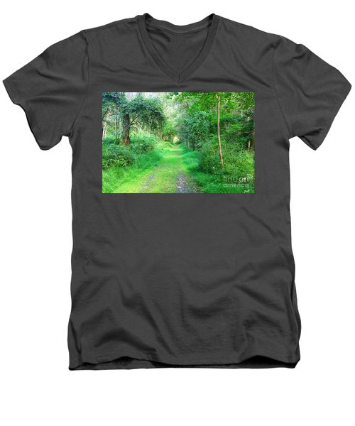 Men's V-Neck T-Shirt featuring the photograph Light At The End Of The Tunnel by Becky Lupe