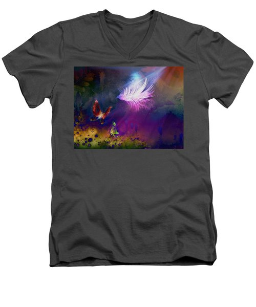 Men's V-Neck T-Shirt featuring the painting Light Feather by Lilia D