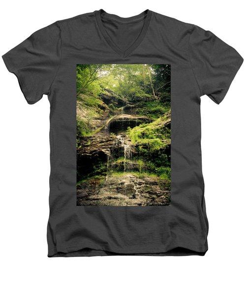 light flow at Cathedral Falls Men's V-Neck T-Shirt