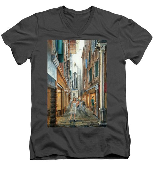Light From San Salvador Merceria Del Capitello San Marco Venezia Men's V-Neck T-Shirt