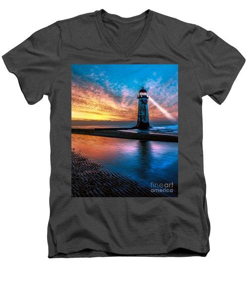 Light House Sunset Men's V-Neck T-Shirt