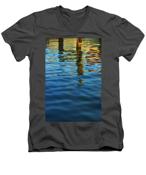 Light Reflections On The Water By A Dock At Aransas Pass Men's V-Neck T-Shirt