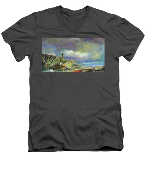 Lighthouse And Fisherman Men's V-Neck T-Shirt