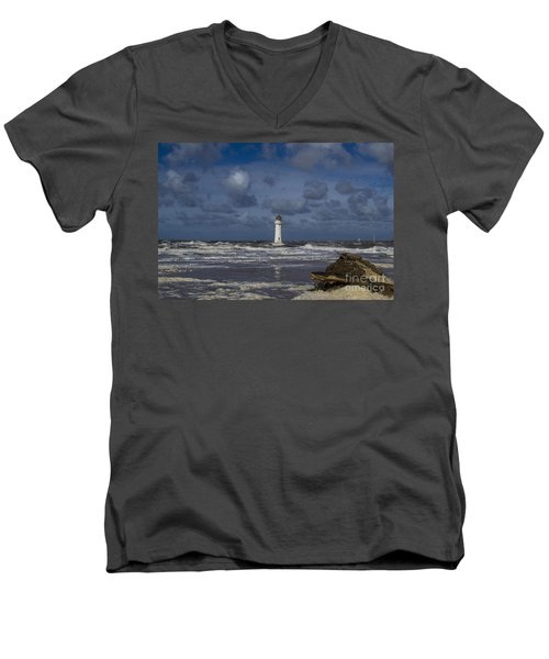 lighthouse at New Brighton Men's V-Neck T-Shirt