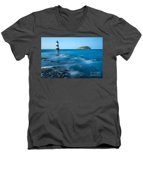 Lighthouse At Penmon Point Men's V-Neck T-Shirt