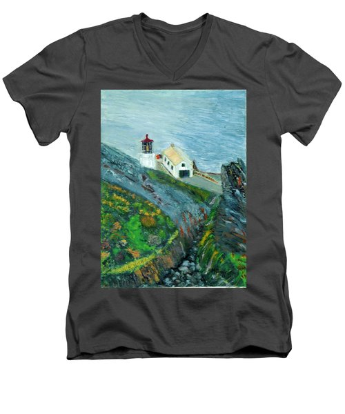 Lighthouse At Point Reyes California Men's V-Neck T-Shirt
