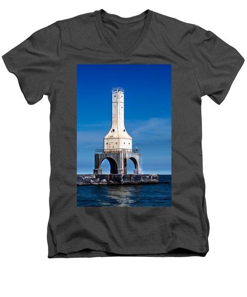 Lighthouse Blues Vertical Men's V-Neck T-Shirt