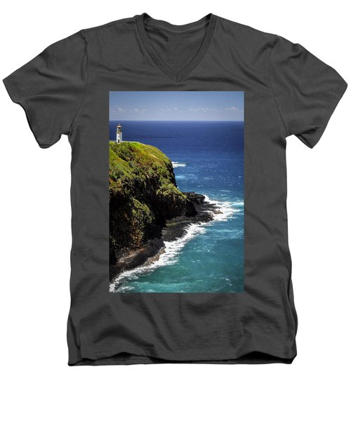 Men's V-Neck T-Shirt featuring the photograph Lighthouse By The Pacific by Debbie Karnes