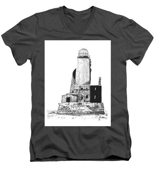 Lighthouse Men's V-Neck T-Shirt by C Sitton