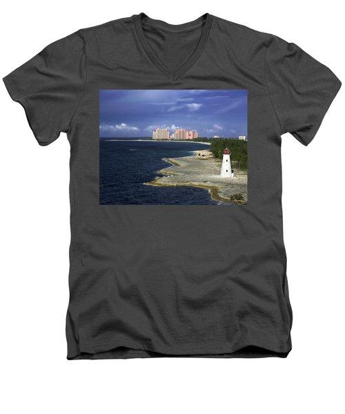 Lighthouse On Colonial Beach With Atlantis Paradise Resort Bahamas Men's V-Neck T-Shirt