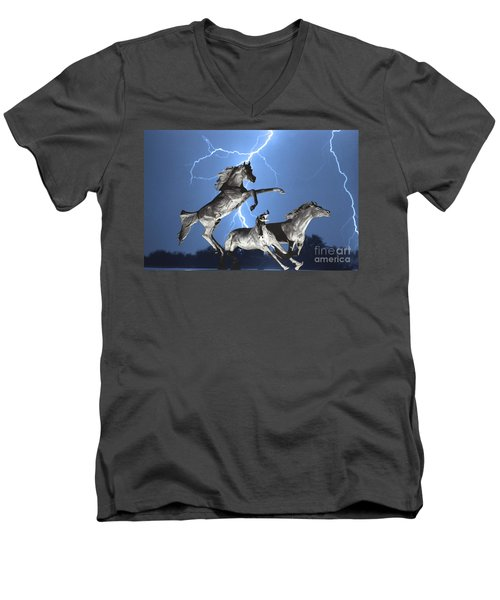 Lightning At Horse World Bw Color Print Men's V-Neck T-Shirt