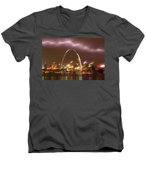 Lightning Over The Arch Men's V-Neck T-Shirt