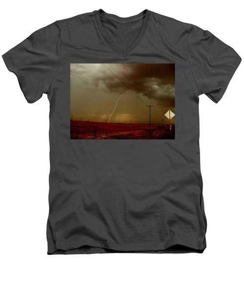 Men's V-Neck T-Shirt featuring the photograph Lightning Strike In Oil Country by Ed Sweeney