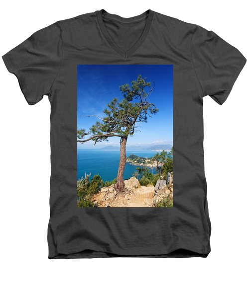 Men's V-Neck T-Shirt featuring the photograph Liguria - Tigullio Gulf by Antonio Scarpi
