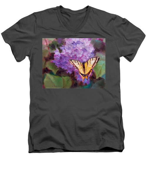 Lilacs And Swallowtail Butterfly Purple Flowers Garden Decor Painting  Men's V-Neck T-Shirt
