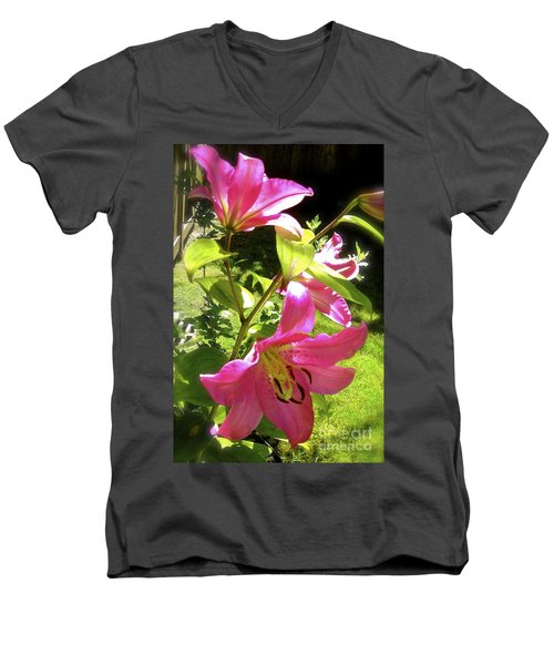 Men's V-Neck T-Shirt featuring the photograph Lilies In The Garden by Sher Nasser