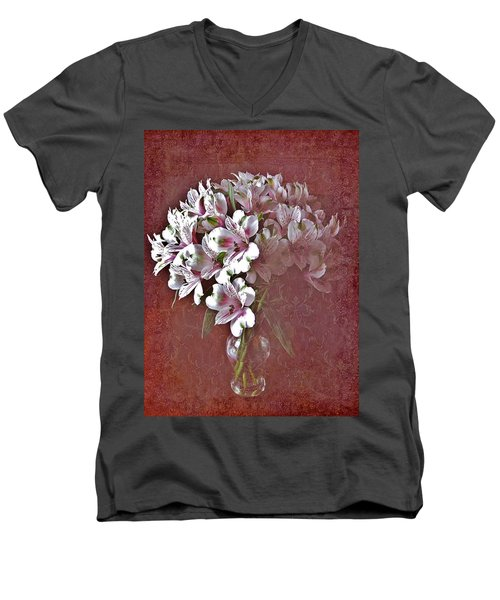 Men's V-Neck T-Shirt featuring the photograph Lilies In Vase by Diane Alexander