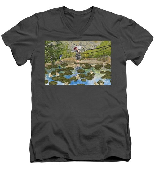 Men's V-Neck T-Shirt featuring the digital art Lilly Pad Lane by Liane Wright
