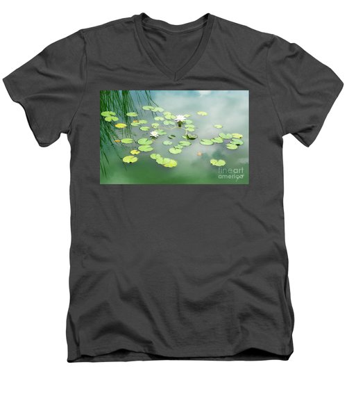 Men's V-Neck T-Shirt featuring the photograph Lilly Pads by Erika Weber
