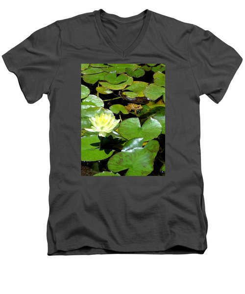 Lily And Amphibian Friend Men's V-Neck T-Shirt