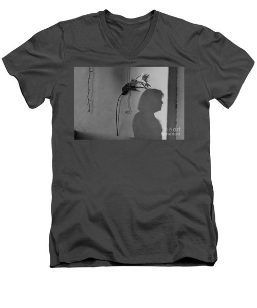 Lily And Male Figure Shadow Men's V-Neck T-Shirt