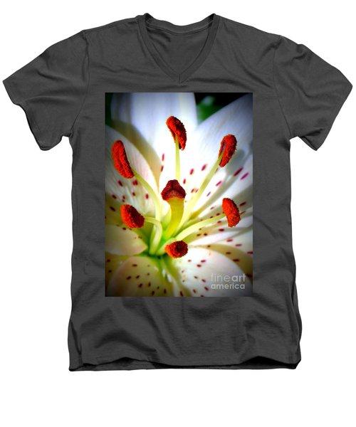 Lily Center Men's V-Neck T-Shirt by Patti Whitten