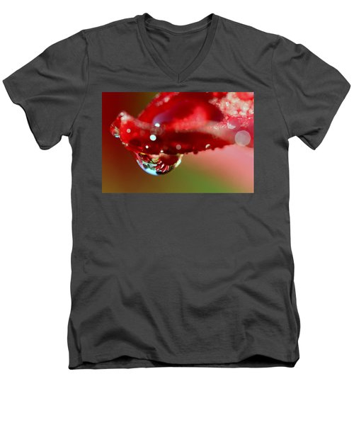 Men's V-Neck T-Shirt featuring the photograph Lily Droplets by Suzanne Stout