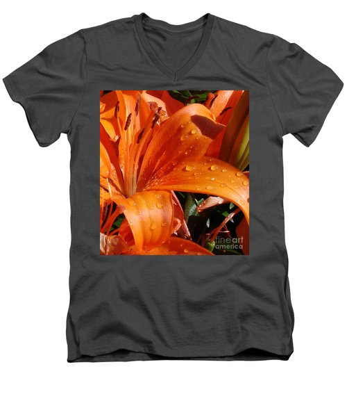 Men's V-Neck T-Shirt featuring the photograph Lily Drops by Kerri Mortenson