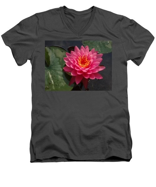 Men's V-Neck T-Shirt featuring the photograph Lily Flower In Bloom by Michael Porchik