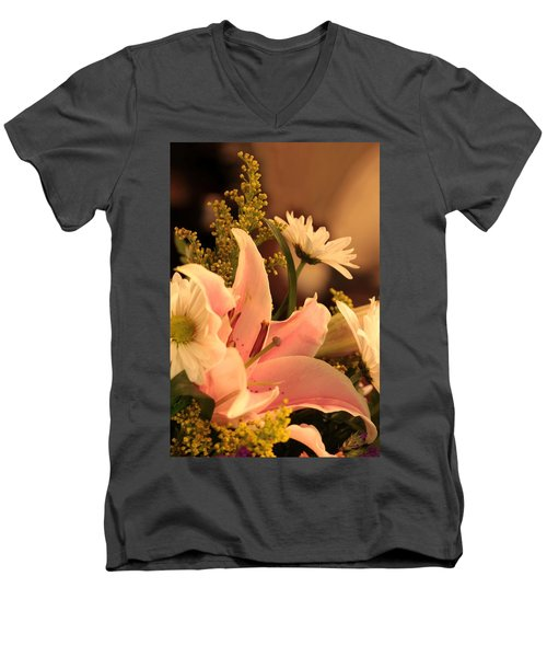 Lily In Pink Men's V-Neck T-Shirt