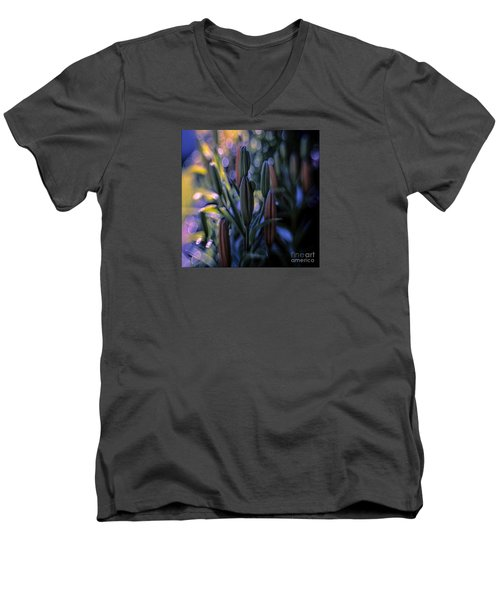 Lily Light Men's V-Neck T-Shirt by Jean OKeeffe Macro Abundance Art