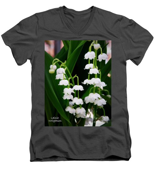 Lily Of The Valley Men's V-Neck T-Shirt by Lainie Wrightson