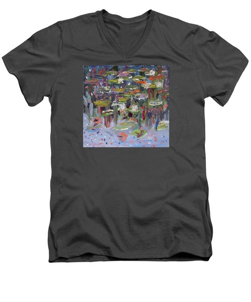 Men's V-Neck T-Shirt featuring the painting Lily Pad Life by Michael Helfen