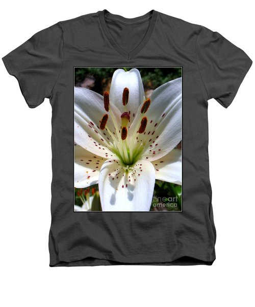 Men's V-Neck T-Shirt featuring the photograph Lily by Patti Whitten
