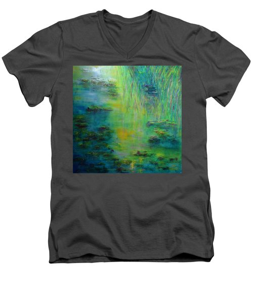 Lily Pond Tribute To Monet Men's V-Neck T-Shirt