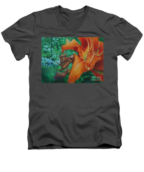 Men's V-Neck T-Shirt featuring the painting Lily's Evening by Pamela Clements