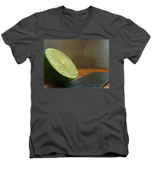 Men's V-Neck T-Shirt featuring the photograph Lime Blade by Joe Schofield
