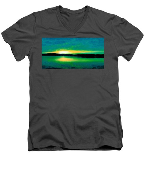 Lime Sunset Men's V-Neck T-Shirt