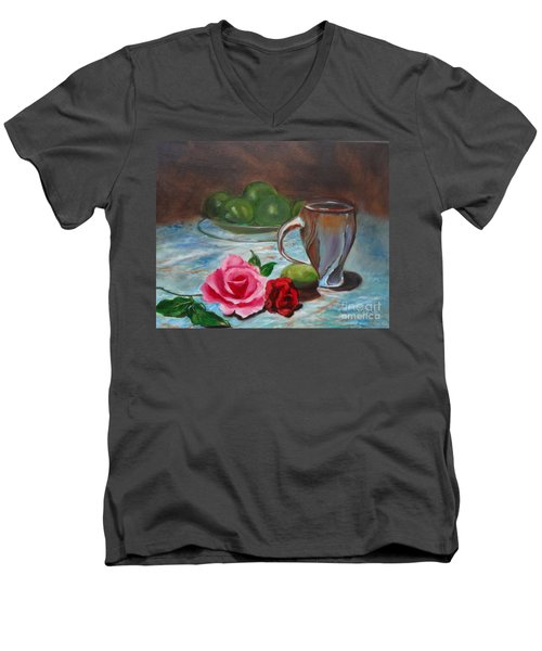 Men's V-Neck T-Shirt featuring the painting Limes And Roses by Jenny Lee