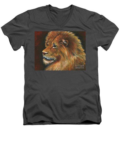 Men's V-Neck T-Shirt featuring the painting Lion by Alga Washington