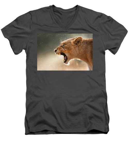 Lioness Displaying Dangerous Teeth In A Rainstorm Men's V-Neck T-Shirt by Johan Swanepoel
