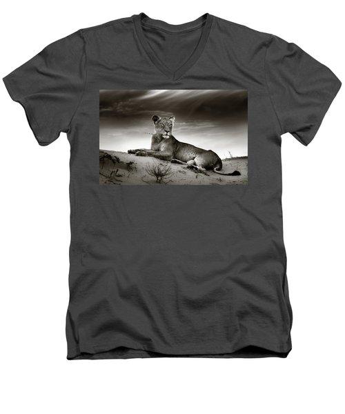 Lioness On Desert Dune Men's V-Neck T-Shirt by Johan Swanepoel