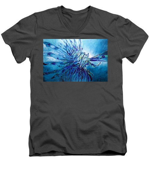 Lionfish Abstract Blue Men's V-Neck T-Shirt