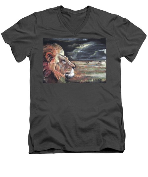 Men's V-Neck T-Shirt featuring the pastel Lions Domain by Peter Suhocke