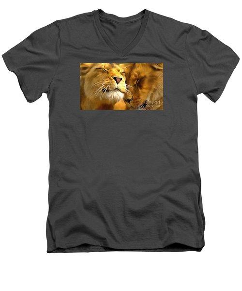 Lions In Love Men's V-Neck T-Shirt by Catherine Lott