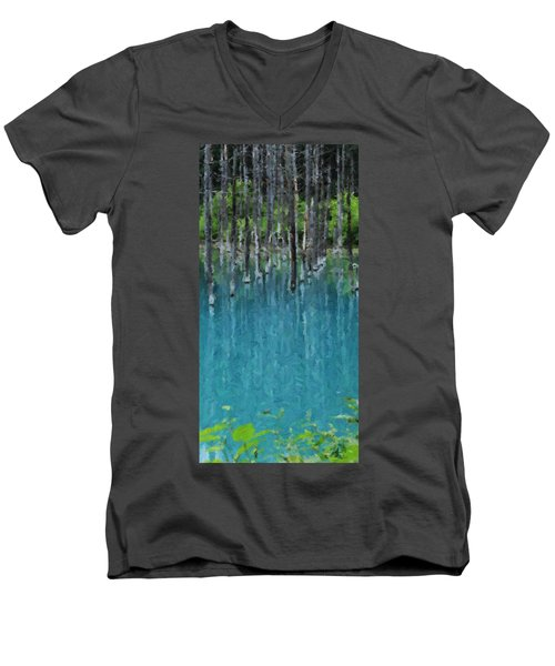 Liquid Forest Men's V-Neck T-Shirt by David Hansen