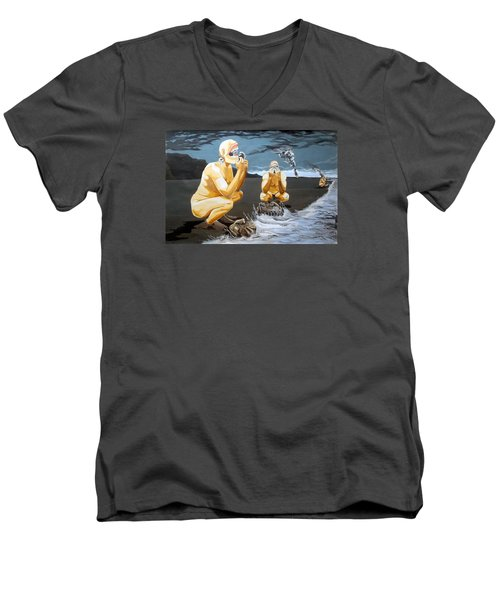 Men's V-Neck T-Shirt featuring the painting Lithophagus Listen With Music Of The Description Box by Lazaro Hurtado