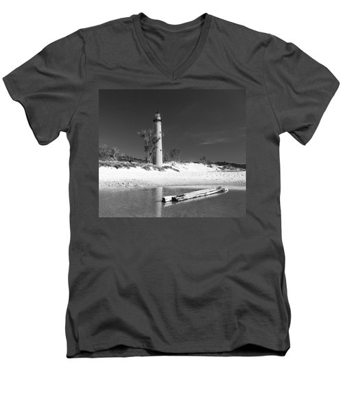 Men's V-Neck T-Shirt featuring the photograph Litle Sable Light Station - Film Scan by Larry Carr